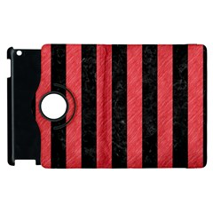 Stripes1 Black Marble & Red Colored Pencil Apple Ipad 3/4 Flip 360 Case by trendistuff