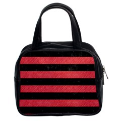 Stripes2 Black Marble & Red Colored Pencil Classic Handbags (2 Sides) by trendistuff