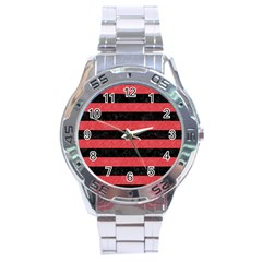 Stripes2 Black Marble & Red Colored Pencil Stainless Steel Analogue Watch by trendistuff