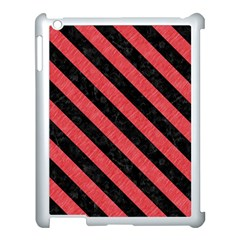 Stripes3 Black Marble & Red Colored Pencil Apple Ipad 3/4 Case (white) by trendistuff