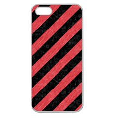 Stripes3 Black Marble & Red Colored Pencil (r) Apple Seamless Iphone 5 Case (clear) by trendistuff