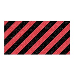Stripes3 Black Marble & Red Colored Pencil (r) Satin Wrap