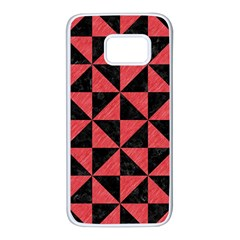 Triangle1 Black Marble & Red Colored Pencil Samsung Galaxy S7 White Seamless Case by trendistuff