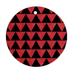Triangle2 Black Marble & Red Colored Pencil Round Ornament (two Sides) by trendistuff