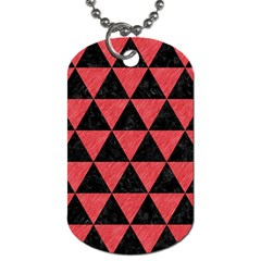Triangle3 Black Marble & Red Colored Pencil Dog Tag (one Side) by trendistuff