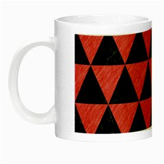 Triangle3 Black Marble & Red Colored Pencil Night Luminous Mugs by trendistuff
