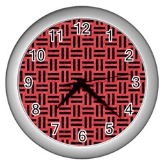 Woven1 Black Marble & Red Colored Pencil Wall Clocks (silver)  by trendistuff