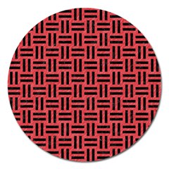 Woven1 Black Marble & Red Colored Pencil Magnet 5  (round) by trendistuff