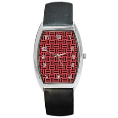 Woven1 Black Marble & Red Colored Pencil Barrel Style Metal Watch by trendistuff