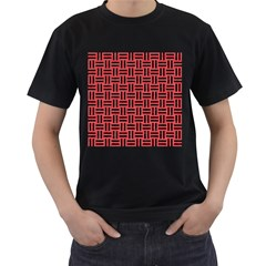 Woven1 Black Marble & Red Colored Pencil Men s T Shirt (black) (two Sided)