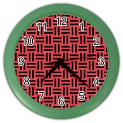 Woven1 Black Marble & Red Colored Pencil Color Wall Clocks by trendistuff