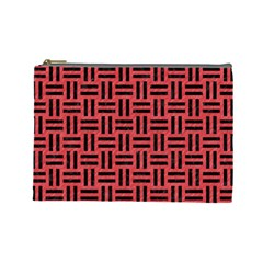 Woven1 Black Marble & Red Colored Pencil Cosmetic Bag (large)  by trendistuff