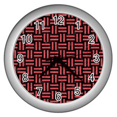 Woven1 Black Marble & Red Colored Pencil (r) Wall Clocks (silver)  by trendistuff