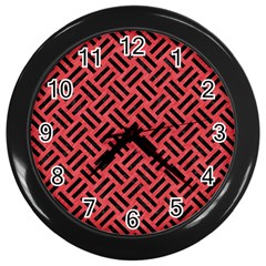 Woven2 Black Marble & Red Colored Pencil Wall Clocks (black) by trendistuff