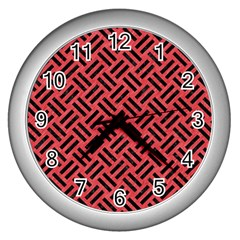 Woven2 Black Marble & Red Colored Pencil Wall Clocks (silver)  by trendistuff
