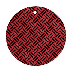 Woven2 Black Marble & Red Colored Pencil Round Ornament (two Sides) by trendistuff