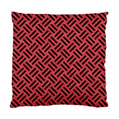 Woven2 Black Marble & Red Colored Pencil Standard Cushion Case (two Sides) by trendistuff