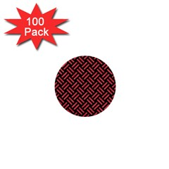 Woven2 Black Marble & Red Colored Pencil (r) 1  Mini Buttons (100 Pack)  by trendistuff