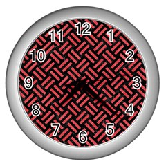 Woven2 Black Marble & Red Colored Pencil (r) Wall Clocks (silver)  by trendistuff