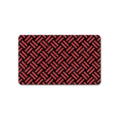 Woven2 Black Marble & Red Colored Pencil (r) Magnet (name Card) by trendistuff