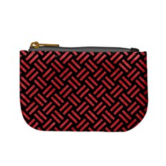 Woven2 Black Marble & Red Colored Pencil (r) Mini Coin Purses by trendistuff