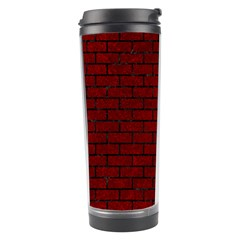 Brick1 Black Marble & Red Grunge Travel Tumbler by trendistuff