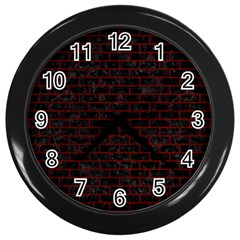 Brick1 Black Marble & Red Grunge (r) Wall Clocks (black) by trendistuff