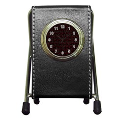 Brick1 Black Marble & Red Grunge (r) Pen Holder Desk Clocks by trendistuff