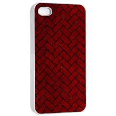 Brick2 Black Marble & Red Grunge Apple Iphone 4/4s Seamless Case (white) by trendistuff