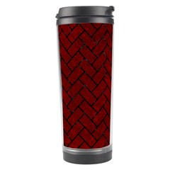 Brick2 Black Marble & Red Grunge Travel Tumbler by trendistuff