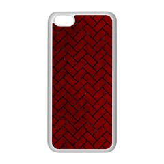 Brick2 Black Marble & Red Grunge Apple Iphone 5c Seamless Case (white) by trendistuff