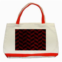 Chevron1 Black Marble & Red Grunge Classic Tote Bag (red) by trendistuff
