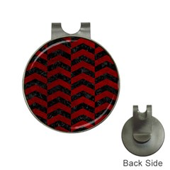 Chevron2 Black Marble & Red Grunge Hat Clips With Golf Markers by trendistuff