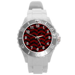 Chevron2 Black Marble & Red Grunge Round Plastic Sport Watch (l) by trendistuff