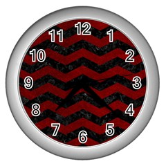Chevron3 Black Marble & Red Grunge Wall Clocks (silver)  by trendistuff