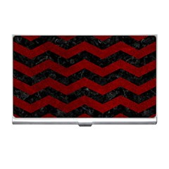 Chevron3 Black Marble & Red Grunge Business Card Holders by trendistuff