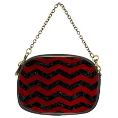 Chevron3 Black Marble & Red Grunge Chain Purses (two Sides)  by trendistuff