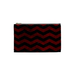 Chevron3 Black Marble & Red Grunge Cosmetic Bag (small)  by trendistuff