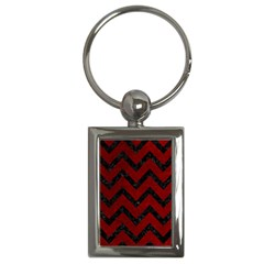 Chevron9 Black Marble & Red Grunge Key Chains (rectangle)  by trendistuff