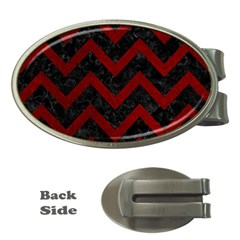 Chevron9 Black Marble & Red Grunge (r) Money Clips (oval)  by trendistuff