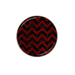 Chevron9 Black Marble & Red Grunge (r) Hat Clip Ball Marker by trendistuff