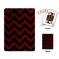 Chevron9 Black Marble & Red Grunge (r) Playing Card by trendistuff