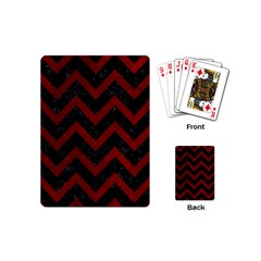 Chevron9 Black Marble & Red Grunge (r) Playing Cards (mini)  by trendistuff