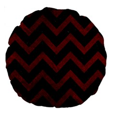 Chevron9 Black Marble & Red Grunge (r) Large 18  Premium Round Cushions by trendistuff