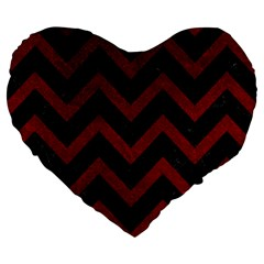 Chevron9 Black Marble & Red Grunge (r) Large 19  Premium Heart Shape Cushions by trendistuff