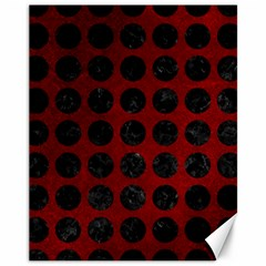 Circles1 Black Marble & Red Grunge Canvas 11  X 14   by trendistuff