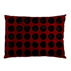 Circles1 Black Marble & Red Grunge Pillow Case (two Sides) by trendistuff