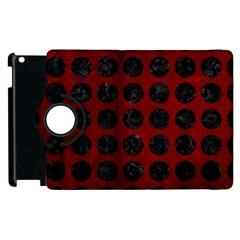 Circles1 Black Marble & Red Grunge Apple Ipad 2 Flip 360 Case by trendistuff