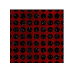 Circles1 Black Marble & Red Grunge Small Satin Scarf (square) by trendistuff