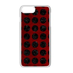 Circles1 Black Marble & Red Grunge Apple Iphone 7 Plus White Seamless Case by trendistuff